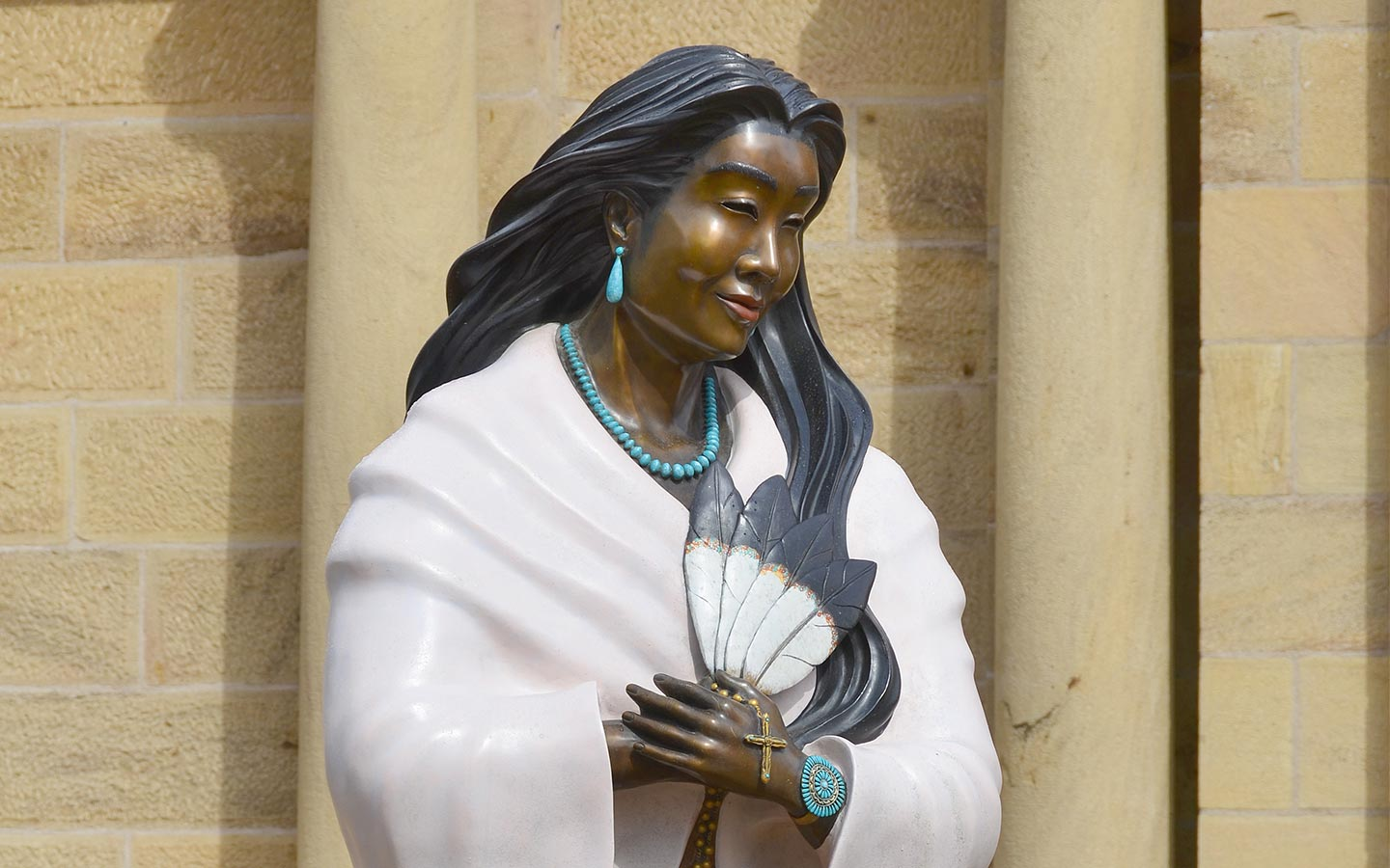 Statue outside of Santa fe Cathedral of Kateri Tekakwitha