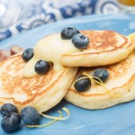 A blueberry pancake breakfast