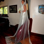 A bride poses in her gown