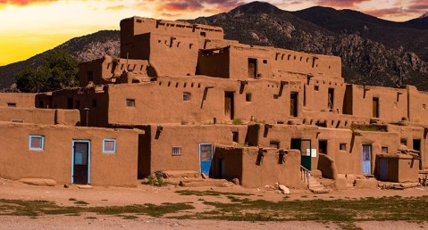 Taos Pueblo at Sunset in New Mexico