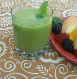 Basil lime smoothie at breakfast