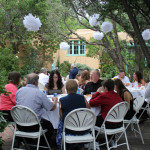 Wedding guests celebrate the nuptials