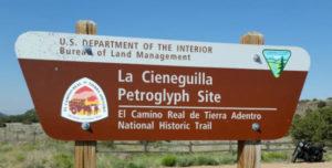 entrance to La Cieneguilla Petroglyph Site