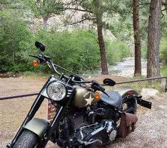 Innkeeper's motorcycle at the Pecos River