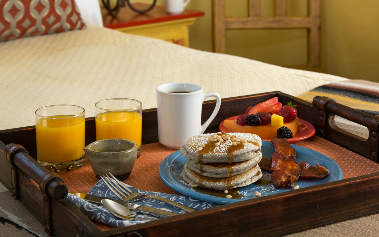 Breakfast is served in a guest room at our Santa Fe B&B
