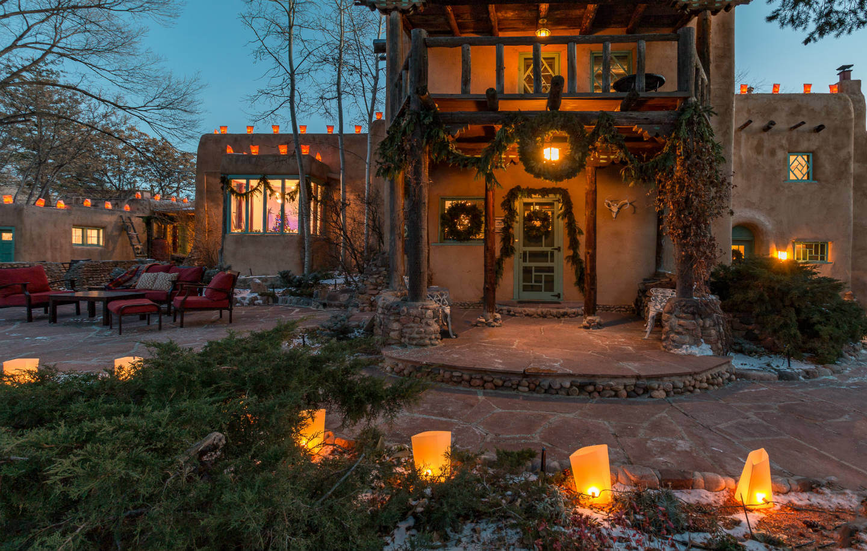farolitos glow on the inn's front walk