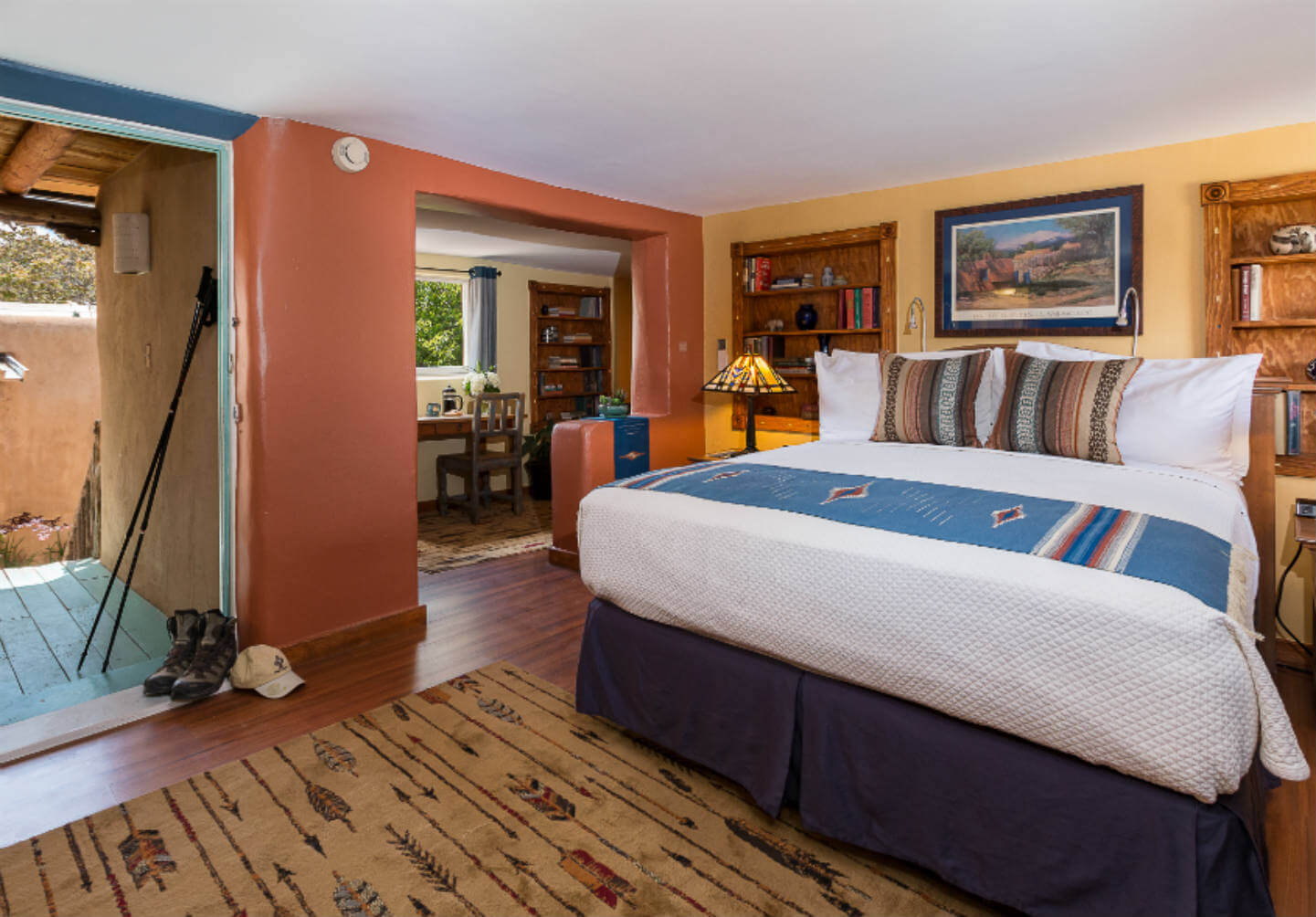 A view of a the DH Lawrence guest room at Turquoise Bear