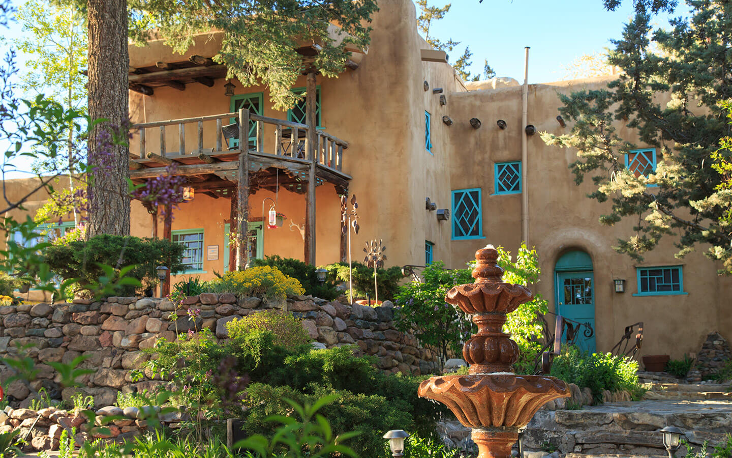 The exterior of our Santa Fe boutique hotel