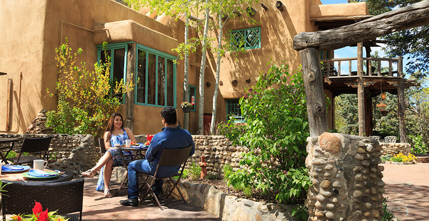 Couple enjoying a private breakfast at our Santa Fe boutique hotel