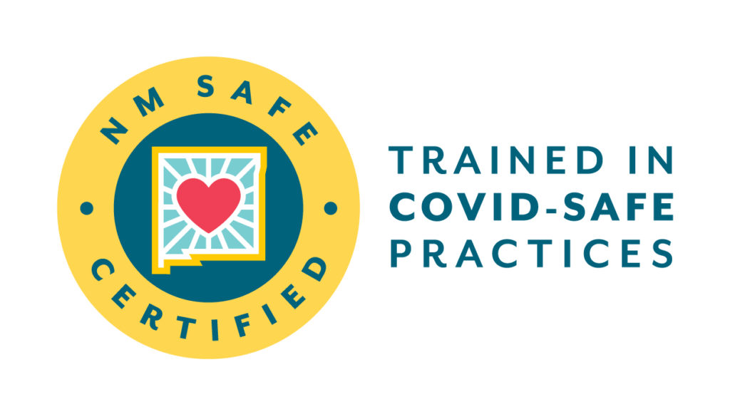 NM Safe Certified logo. Trained in Covid-safe practices