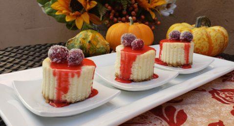 Three mini cheesecakes