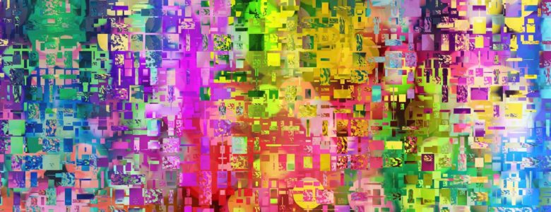 Colorful abstract art with tiny rectangulars everywhere in all the colors of the rainbow