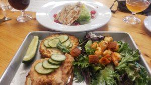 Lunch getaway. Chicken Biscuit Sandwich and Wedge Salad