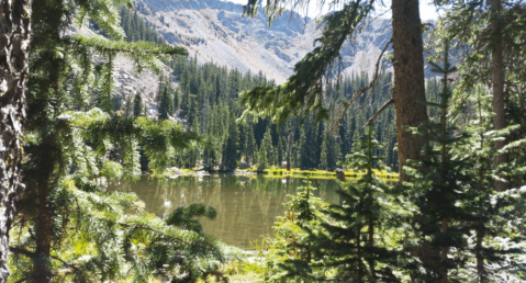 Stunning view of Nambe Lake surrounded by evergreen trees and mountains.