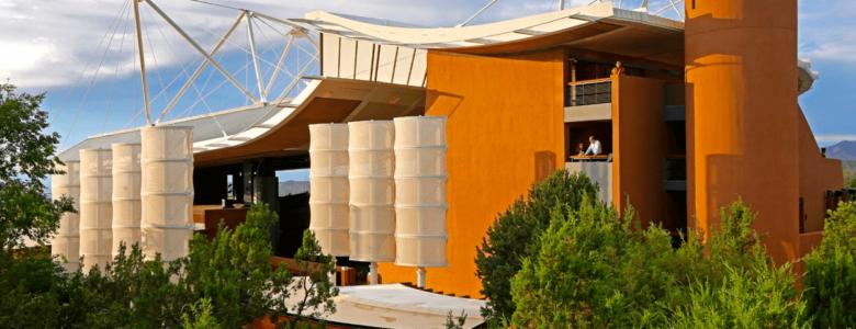 Santa Fe Opera House, a unique design in rust orange and cream