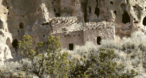 Ancient cave dwellings at Bandelier National Monument.