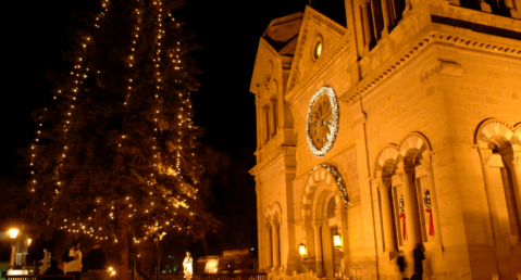 A tree lighting ceremony to celebrate the holidays in Santa Fe