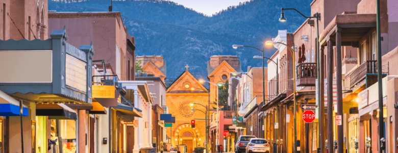 Downtown Santa Fe at sundown.